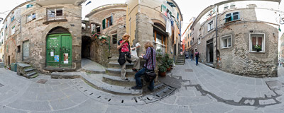 Via Fieschi - the main street of Corniglia in Ligurian Cinque Terre.  Click to view this panorama in new fullscreen window