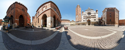 Piazza del Comune: the main square of Cremona, Italy, with the baptistery, the Duomo and the Torrazzo bell tower.  Click to view this panorama in new fullscreen window