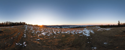 A February sunrise on the summit of Ćwilin (1072 m) in the Beskid Wyspowy mountain range.  Click to view this panorama in new fullscreen window
