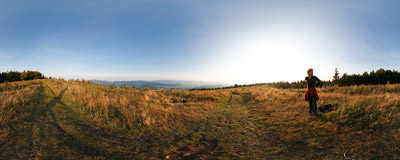 Evening on Ćwilin mountain (1072 m) in the Beskid Wyspowy mountain range.  Click to view this panorama in new fullscreen window