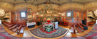 Inside the Greek Orthodox church of Saint Demetrius (1764) in Czarna, now converted to a Roman Catholic church.  Click to view this panorama in new fullscreen window
