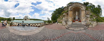 Carmelite monastery in Czerna - St. Anne's chapel in the gardens.  Click to view this panorama in new fullscreen window