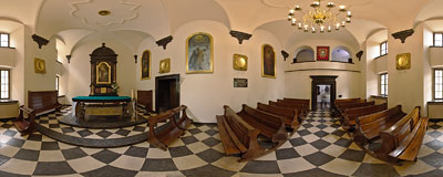 St. Rafał's chapel in the Carmelite monastery in Czerna.  Click to view this panorama in new fullscreen window