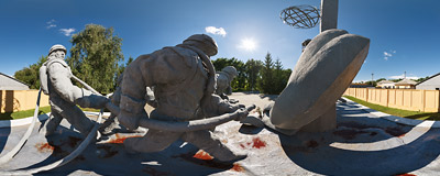 "The monument dedicated to liquidators - ""those who saved the world"" - that is people working to avert the consequences of the 1986 Chernobyl nuclear disaster.  Click to view this panorama in new fullscreen window"