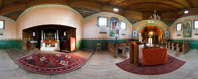 Inside the wooden Eastern Orthodox church of the Transfiguration (18c) in Czerteż near Sanok, Southeast Poland.  Click to view this panorama in new fullscreen window