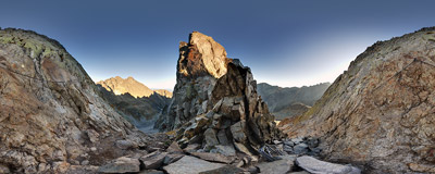 The narrow rocky pass of Priečne sedlo (2352 m) in Slovak Tatra Mountains.  Click to view this panorama in new fullscreen window
