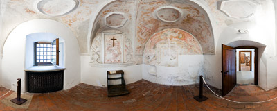 Červený kláštor ('The Red Monastery'): inside the oratory, a part of a monkhouse that was used for prayer and meditation.  Click to view this panorama in new fullscreen window