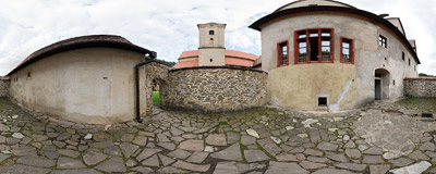 Inside the grounds of Červený kláštor ('The Red Monastery').  Click to view this panorama in new fullscreen window