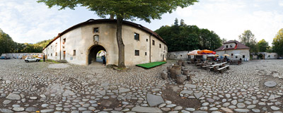 The outer courtyard of Červený kláštor ('The Red Monastery').  Click to view this panorama in new fullscreen window