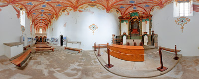 Červený kláštor ('The Red Monastery'): inside the former church of St. Anthony, consecrated in 1747 by Camaldolese monks who came here in 1711.  Click to view this panorama in new fullscreen window