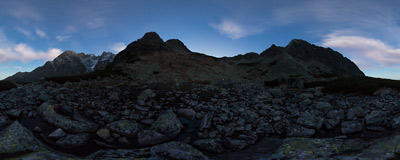 At nightfall on the shore of Červené pleso ('Red Lake', 1801 m) in Slovak Tatra Mountains.  Click to view this panorama in new fullscreen window