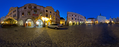 Náměstí Svornosti - the historical town square of medieval Český Krumlov, a pearl of South Bohemia.  Click to view this panorama in new fullscreen window