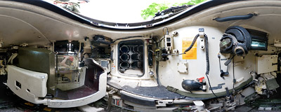 On the loader's seat inside a Leopard 2A4 battle tank.  Click to view this panorama in new fullscreen window