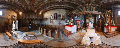 Inside the 15th century wooden church of St. Michael the Archangel in Dębno.  Click to view this panorama in new fullscreen window