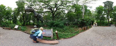 """The tallest moving T. Rex in the world"" in the DinoZatorland amusement park in Zator.  Click to view this panorama in new fullscreen window"