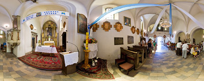 Inside the 14th-century church of St. Mary Magdalen in Dobrowoda.  Click to view this panorama in new fullscreen window