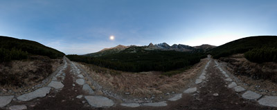 The moonlit Dolina Gąsienicowa, the Polish Tatra Mountains.  Click to view this panorama in new fullscreen window