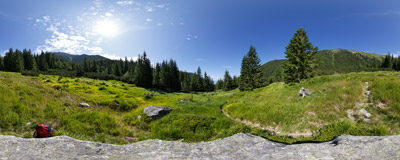 A grassy glade on the trail in the Hlboká dolina ('Deep Valley') in Slovak Tatras.  Click to view this panorama in new fullscreen window