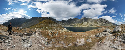 Mengusovská valley in Slovak Tatry mountains.  Click to view this panorama in new fullscreen window