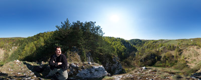 "On the top of the Okręt (""The Ship"") rock in the Kobylańska Valley.  Click to view this panorama in new fullscreen window"