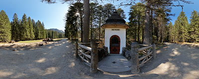 Kapliczka Zbójnicka (Shrine of the Outlaws) in Kościeliska Valley in the Tatra Mountains.  Click to view this panorama in new fullscreen window
