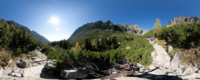 A popular trail through Malá Studená dolina, Slovak Tatra Mountains.  Click to view this panorama in new fullscreen window