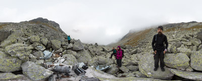 Slovak Tatra Mountains: remaining parts of a Mi-8 helicopter that crashed in the Mlynická dolina on June 25th, 1979.  Click to view this panorama in new fullscreen window