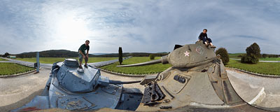 A Soviet tank T-34 and a German tank Pz IV.  Click to view this panorama in new fullscreen window