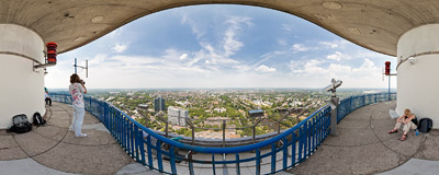 On the viewing platform of the Florianturm TV tower in Dortmund, Germany.  Click to view this panorama in new fullscreen window