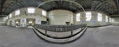 A washroom of the closed-down Hansa coking plant in Dortmund, Germany.  Click to view this panorama in new fullscreen window