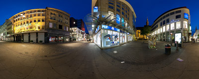 Westenhellweg, the main shopping street in the centre of Dortmund, Germany.  Click to view this panorama in new fullscreen window