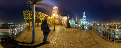 A rainy night on the west end of Brühl's Terrace in Dresden.  Click to view this panorama in new fullscreen window