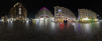 The square behind the recently rebuilt Frauenkirche church in Dresden.  Click to view this panorama in new fullscreen window