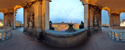 Inside the Kronentor ('Crown Gate') in the Zwinger Palace Dresden.  Click to view this panorama in new fullscreen window