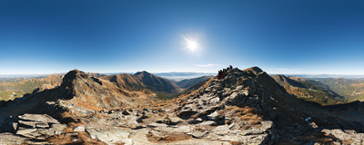 On the summit of Druhá kopa (cca 2127 m) in Slovak Tatra mountains.  Click to view this panorama in new fullscreen window