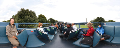 Dublin sightseeing bus in Phoenix Park.  Click to view this panorama in new fullscreen window