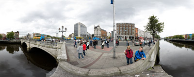 Banks of River Liffey in Dublin, Ireland.  Click to view this panorama in new fullscreen window
