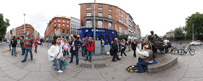 The statue of Molly Malone on the top of Grafton Street in Dublin.  Click to view this panorama in new fullscreen window