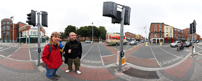 Searching for a photographic opportunity on the junction of Lower Kevin and Aungier Streets in Dublin, Ireland.  Click to view this panorama in new fullscreen window