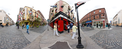 Temple Bar in Dublin, Ireland.  Click to view this panorama in new fullscreen window