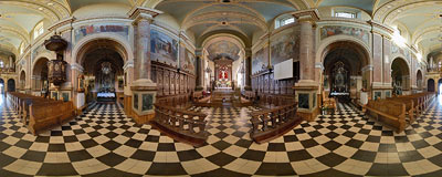 Bernardine church in Dukla.  Click to view this panorama in new fullscreen window