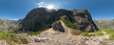 On the trail from the viewpoint of Eira do Serrado down to Curral das Freiras in Madeira.  Click to view this panorama in new fullscreen window