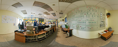EC Kraków CHP plant - main control room.  Click to view this panorama in new fullscreen window