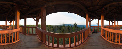 On the wooden viewing tower on the summit of Eliaszówka (1023 m) in the Beskid Sądecki mountain range.  Click to view this panorama in new fullscreen window