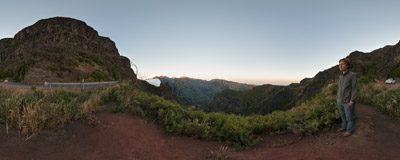 The ER 110 mountain road in Madeira, coming down from the Paúl da Serra plateau to the pass of Boca de Encumeada.  Click to view this panorama in new fullscreen window