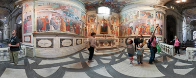 The famous Brancacci Chapel in the Church of Santa Maria del Carmine in Florence, Italy.  Click to view this panorama in new fullscreen window