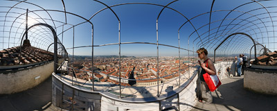 On top of the Giotto's Campanile, a 14th-century free-standing bell tower of the Santa Maria del Fiore cathedral in Florence, Italy.  Click to view this panorama in new fullscreen window