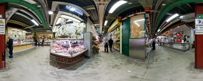 Inside the Central Market (Mercato Centrale) in Florence, Italy.  Click to view this panorama in new fullscreen window