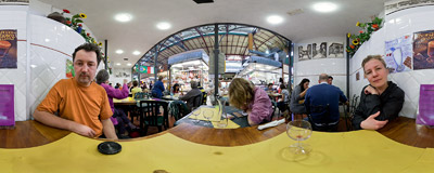 Our favourite lunch spot in Florence: the Virginia Bar inside the Mercato Centrale.  Click to view this panorama in new fullscreen window