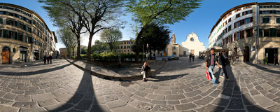 Piazza Santo Spirito, a typical Italian town square in the Oltrarno section of Florence, Italy.  Click to view this panorama in new fullscreen window